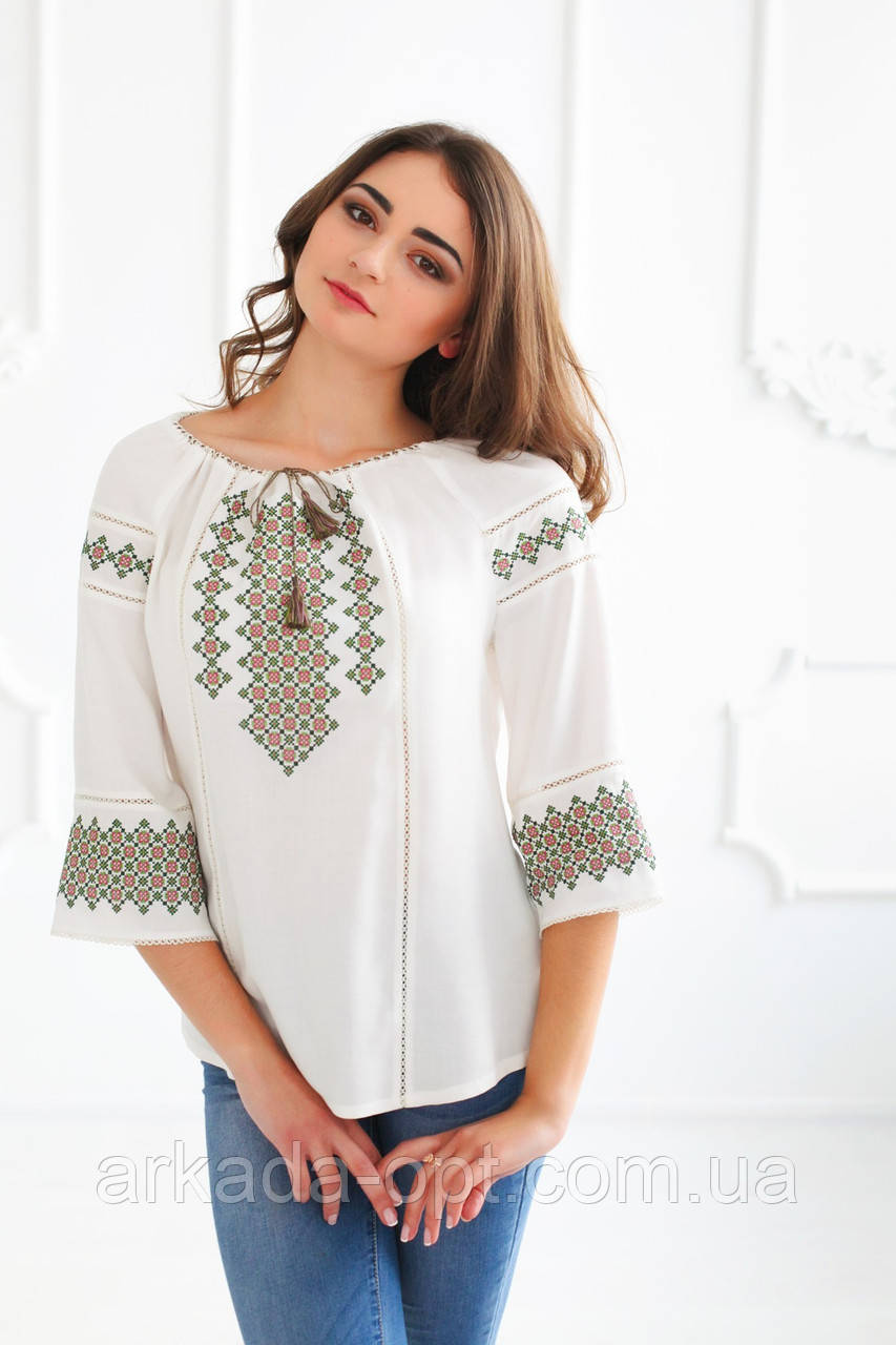 Жіноча вишиванка Скиба СК2382 46 Білий з візерунком