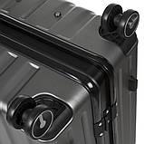 Валіза малий OUPAI темно-сірий 40х62х24 пластик ABS алюмінієвий каркас кс1106-1тсерм, фото 5