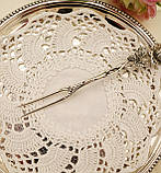 Срібна посуд сервіровки вилка з трояндою, Хильдесхаймская Троянда, срібло 835, Німеччина, Christoph Bach, фото 3