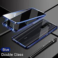 Магнитный чехол с защитным стеклом для Xiaomi Redmi Note 8 Pro цвет Синий