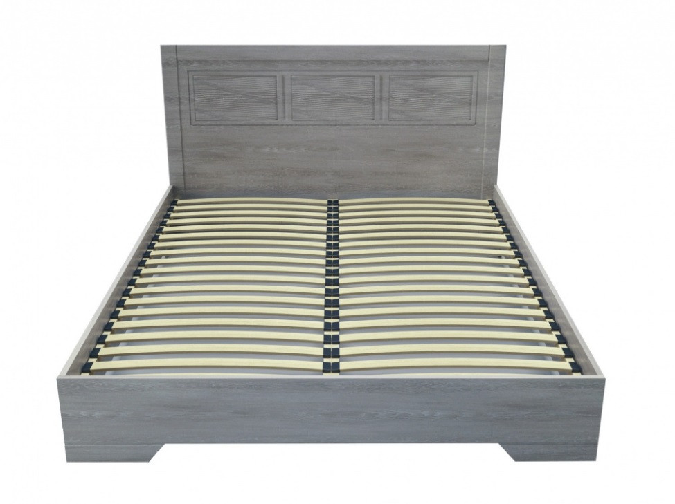 Ліжко Німан Марсель двоспальне Дуб грей з дерев'яним внеском 180х200