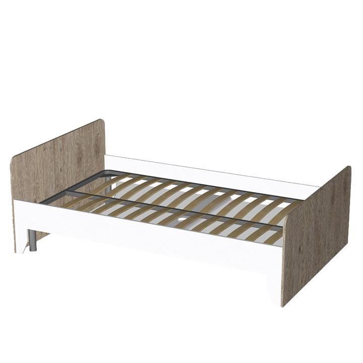 Кровать Неман Нордик односпальная белый/секвойя с вкладом 90х200