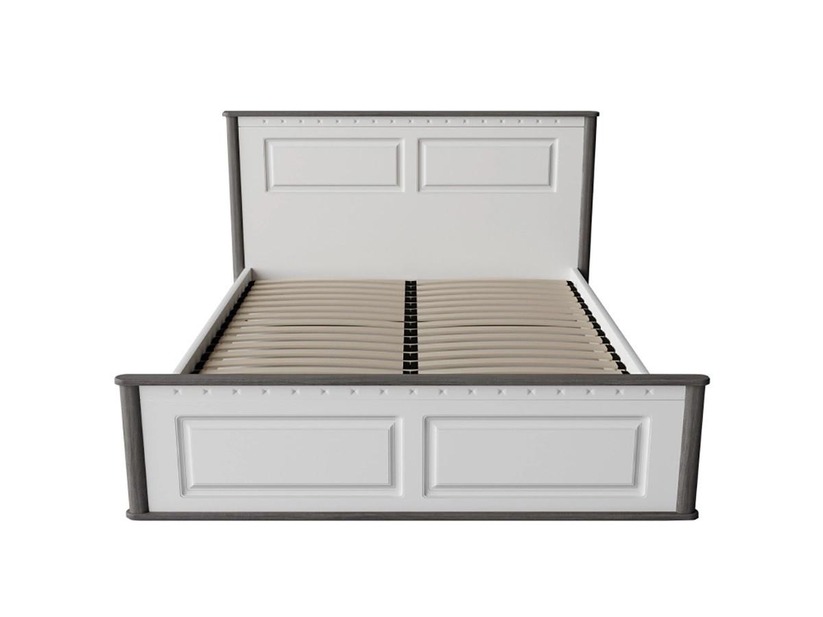Кровать Неман Леон двуспальная белый/серый с деревянным вкладом 160х200