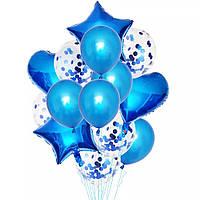 Набор шаров синий с конфетти, 14шт