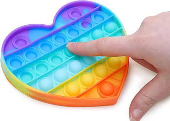 Игрушка для детей антистресс пупырка силиконовый радужный Поп ит в виде Сердца Pop it