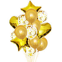 Набор шаров золотые с конфетти, 14шт