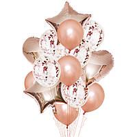 Набор шаров розовое золото с конфетти, 14шт