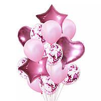 Набор шаров розовые с конфетти, 14шт