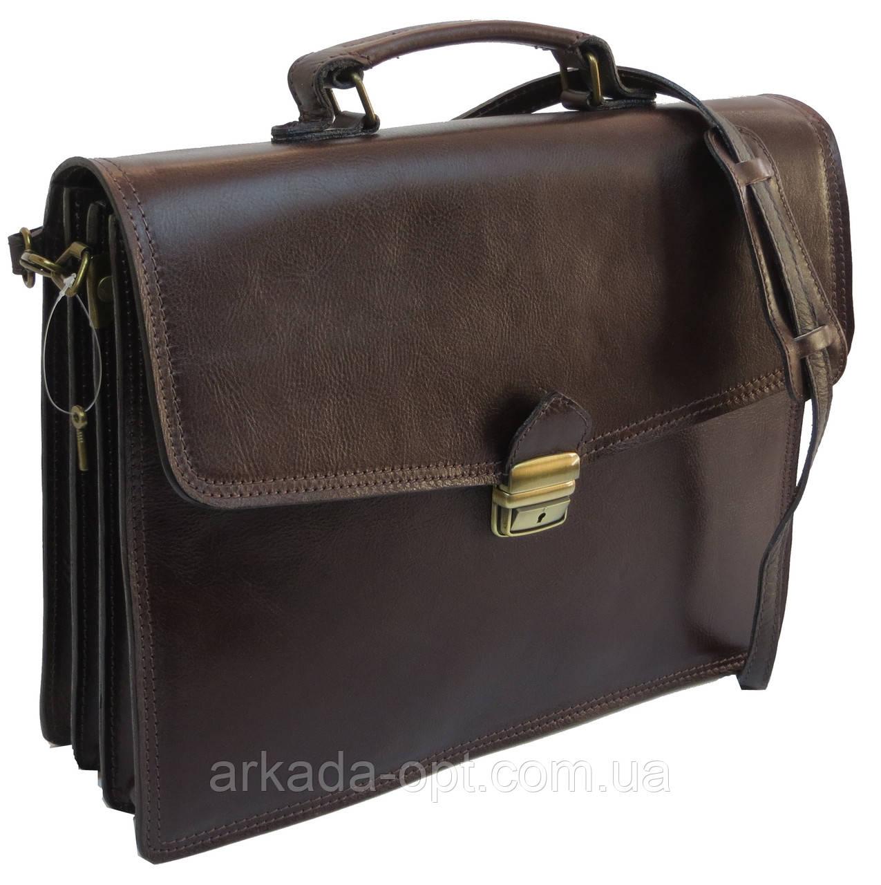 Мужской портфель из натуральной кожи TOMSKOR Коричневый (81568)