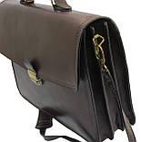 Мужской портфель из натуральной кожи TOMSKOR Коричневый (81568), фото 4
