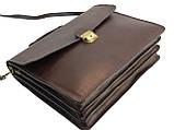 Мужской портфель из натуральной кожи TOMSKOR Коричневый (81568), фото 5