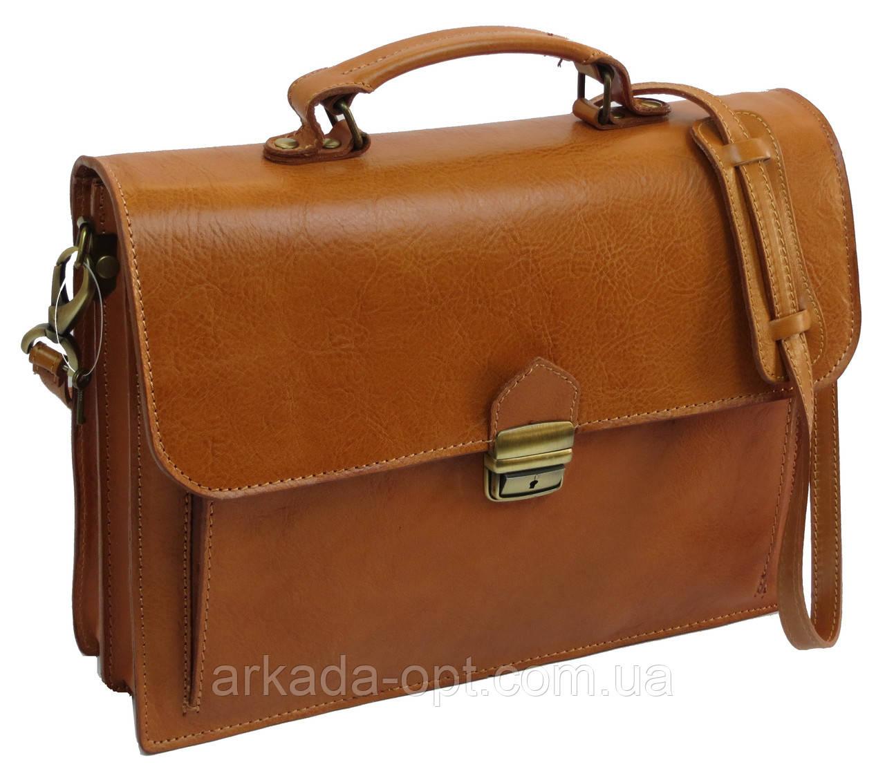 Чоловічий портфель з натуральної шкіри TOMSKOR Рудий (81569)