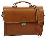 Чоловічий портфель з натуральної шкіри TOMSKOR Рудий (81569), фото 2