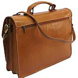 Чоловічий портфель з натуральної шкіри TOMSKOR Рудий (81569), фото 3