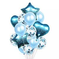 Набор шаров голубой с конфетти, 14шт