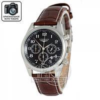 Часы Longines quartz Chronograph silver/black
