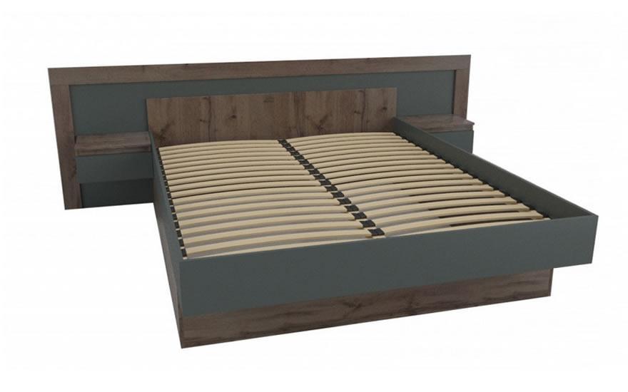 Ліжко Німан Вірджинія двоспальне коричневий/сірий 160х200