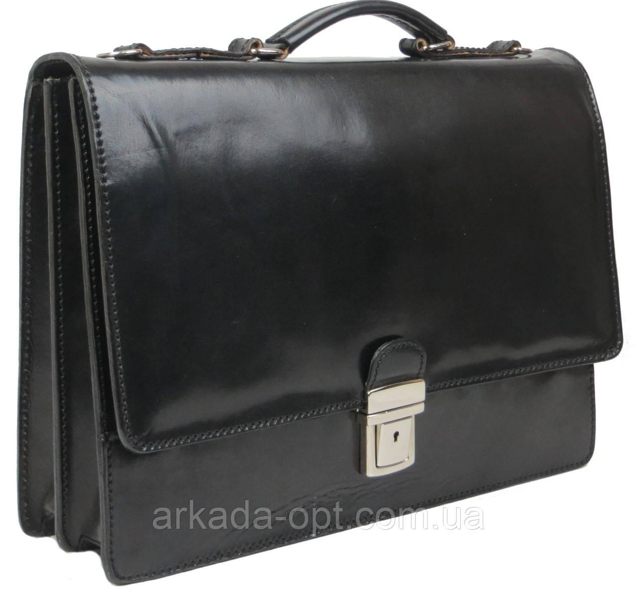 Мужской портфель из натуральной кожи TOMSKOR Черный (81573)