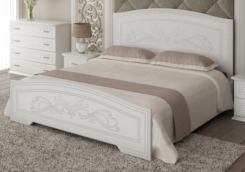 Ліжко Німан Анабель 1400*2000 + 4 скриньки Білий супермат/патина срібло