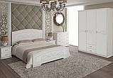 Кровать Неман Анабель 1400*2000 + 4 ящика Белый супермат/патина серебро, фото 2