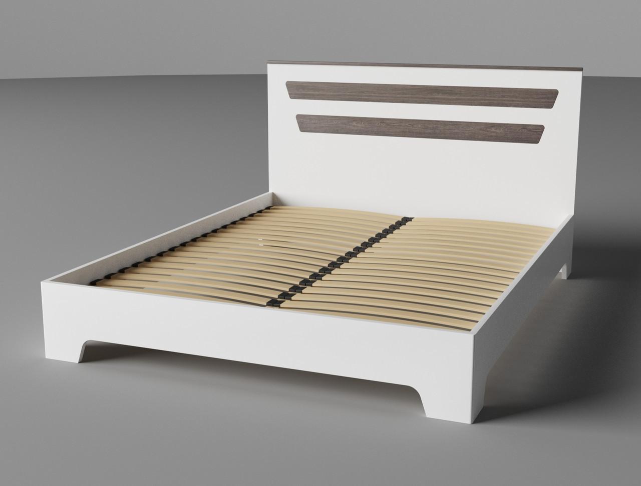 Ліжко Німан Елен 180x200 білий супер мат + дуб шато