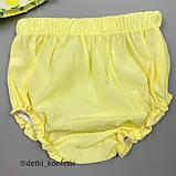 Комплект туника, блумер, повязка для девочки Жёлтый Ситец Murat baby Турция 68 (р), фото 3
