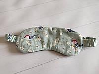 """Женская маска для сна/повязка на глаза ручной работы на резинке в зеленом цвете """"Птички"""""""