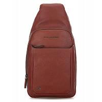 Кожаный мужской рюкзак на одно плечо с отделением для iPad 20*39*10 см. коричневый 2201566