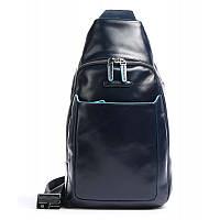 Мужской кожаный рюкзак через одно плечо Италия 20*37*10 см. синий 2201604