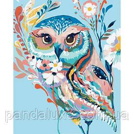 """Картина для рисования по номерам. Животные, птицы """"Сова 2"""" 40*50 см"""