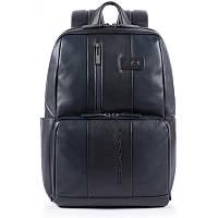 Кожаный мужской рюкзак Италия 32,5*42*18 см. синий 2201751