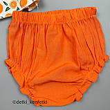 Комплект туника, блумер, повязка для девочки Оранжевый Ситец Murat baby Турция 68 (р), фото 4