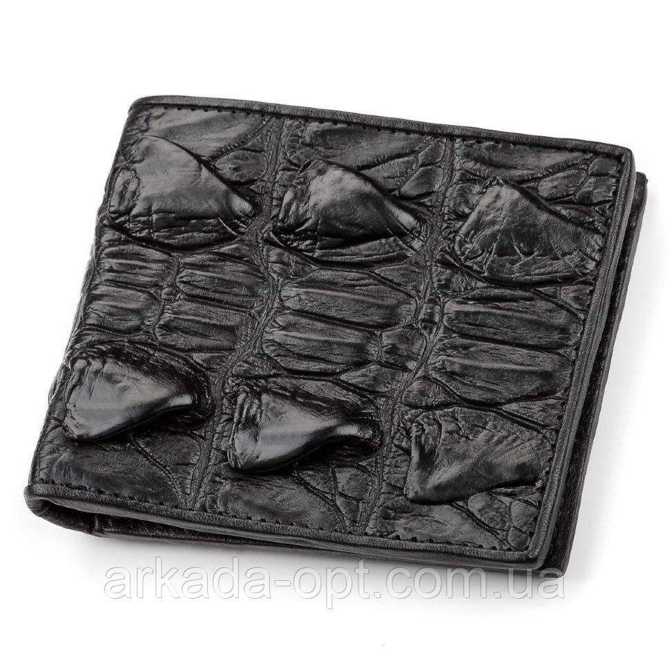 Портмоне CROCODILE LEATHER из натуральной кожи крокодила Черное (18005)