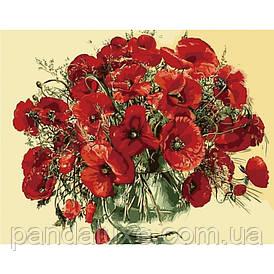 """Картина для рисования по номерам. Букеты """"Красные маки в стеклянной вазе"""" KHO1076, 40х50 см"""