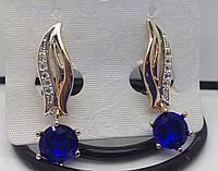 Загадочные серьги с синими кристаллами. Элитная позолоченная бижутерия Fallon опт. 60
