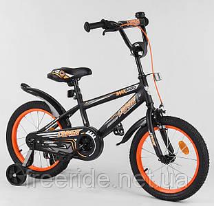 """Дитячий Велосипед Aerodynamic CORSO EX-16"""" N чорно-помаранчевий"""