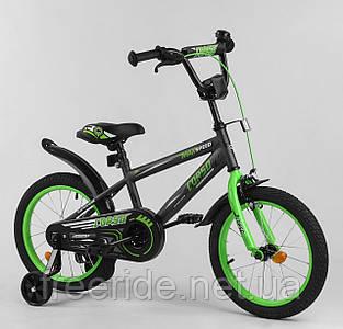 """Дитячий Велосипед Aerodynamic CORSO EX-16"""" N сіро-зелений"""
