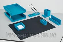 Набір настільний з натурального дерева CHAMP, 7 предметів, блакитний