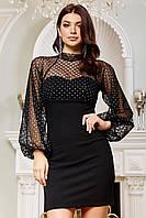 ✔️ Красивое платье с пышными рукавами из сетки 42-48 размеры разные расцветки