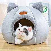 Уютный домик для кота серого цвета. Место сна для кота. Кошачий домик с ушками. Лежак для котов