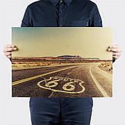 Ретро плакат Трасса 66 из плотной крафтовой бумаги 51x36cm. Постер Route 66