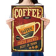 Ретро плакат Coffee Shop из плотной крафтовой бумаги 50.5x35cm. Постер Кофи Шоп
