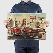Ретро плакат Mustang из плотной крафтовой бумаги 51x36cm. Постер красный Мустанг