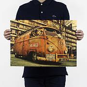 Ретро плакат Volkswagen T1 из плотной крафтовой бумаги 51x36cm. Постер Фольксваген хиппи