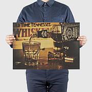 Ретро плакат Jack Daniels из плотной крафтовой бумаги 51x36cm. Постер виски Джек Дениелс