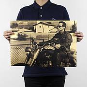 Ретро плакат Терминатор из плотной крафтовой бумаги 51x35cm. Постер Terminator