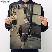 Ретро плакат Анри Картье-Брессон Улица Муфтар из плотной бумаги 55.5x35cm. Постер Henri Cartier-Bresson rue