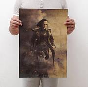Постер Марвел Локи, 51х36 см на крафтовой бумаге. Ретро плакат Loki