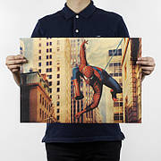 Постер Марвел Спайдер Мен, 51х36 см на крафтовой бумаге. Ретро плакат Spider Man