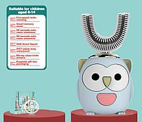 Ультразвуковая синяя детская зубная щетка 360. Зубная щетка капа для детей 6-14 лет. Умная зубная щетка с